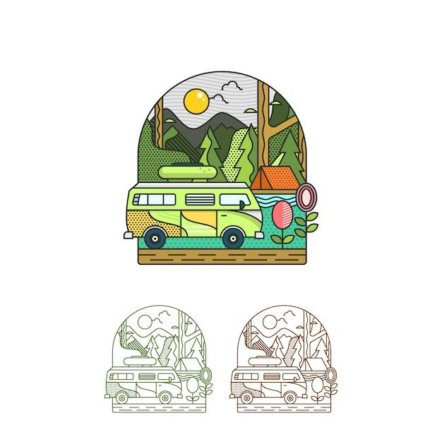 Camp d'été illustration de vacances Vecteur Premium