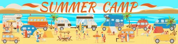 Camp d'été sur la plage Vecteur Premium