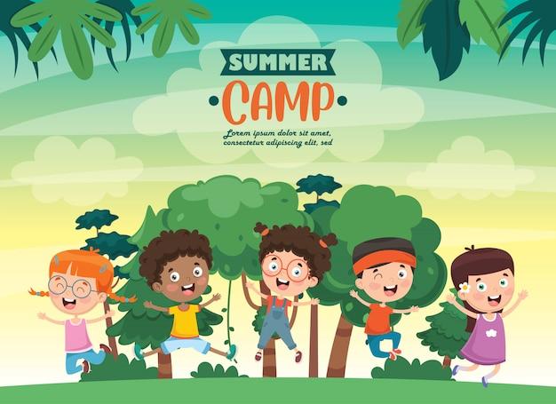 Camp d'été pour enfants Vecteur Premium