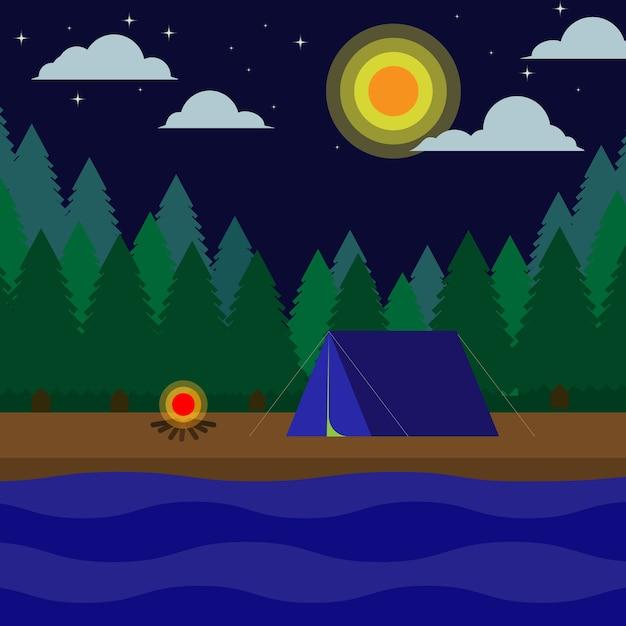Camp de soirée Vecteur Premium