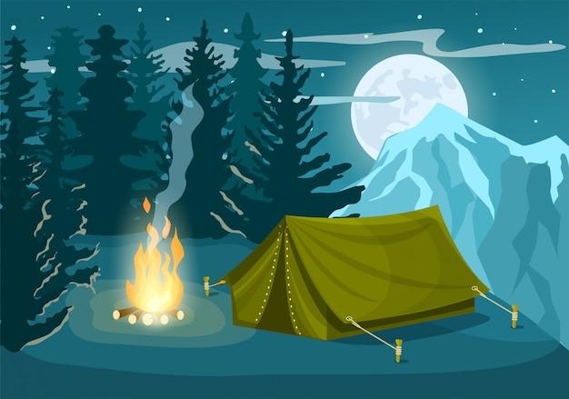 Camp De Tourisme En Forêt D'hiver Vecteur Premium