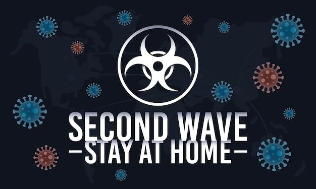 Campagne De Deuxième Vague Covid19 Avec Joint Et Particules De Danger Biologique Vecteur Premium