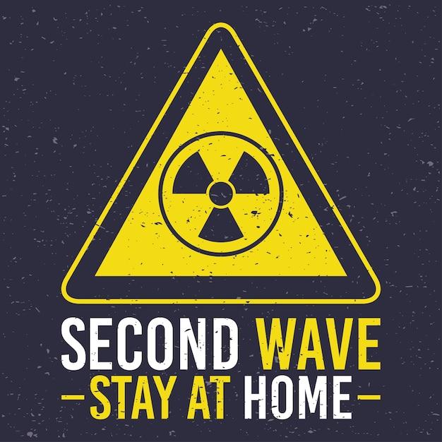 Campagne De Deuxième Vague Covid19 Avec Prudence Atomique En Signe Triangle Vecteur Premium