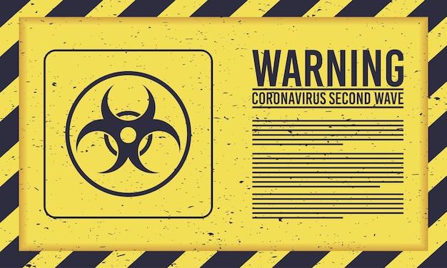 Campagne De Deuxième Vague Covid19 Avec Sceau De Danger Biologique Vecteur Premium