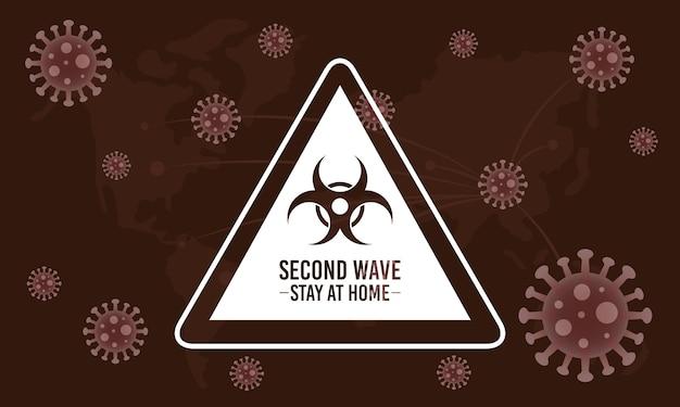 Campagne De Deuxième Vague Covid19 Avec Signe De Danger Biologique Vecteur Premium