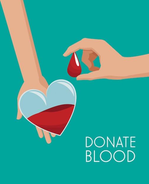 Campagne de dons en forme de coeur de sac de sang Vecteur Premium