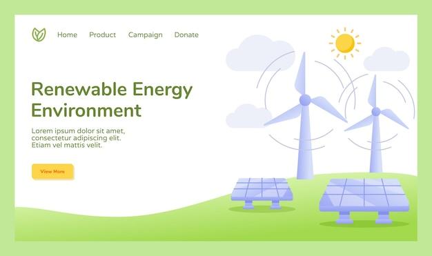 Campagne D'énergie Renouvelable Pour L'énergie Solaire éolienne Vecteur Premium