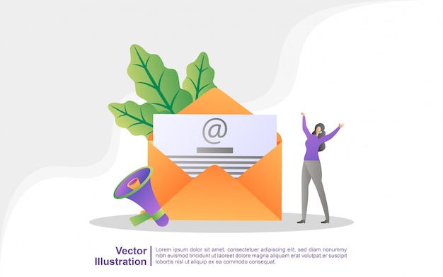Campagne De Publicité Par E-mail, E-marketing, Atteindre Le Public Cible Avec Des E-mails. Vecteur Premium