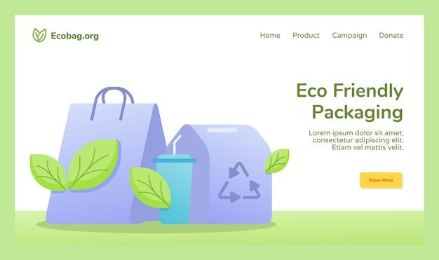 Campagne De Recyclage D'emballage écologique Vecteur Premium