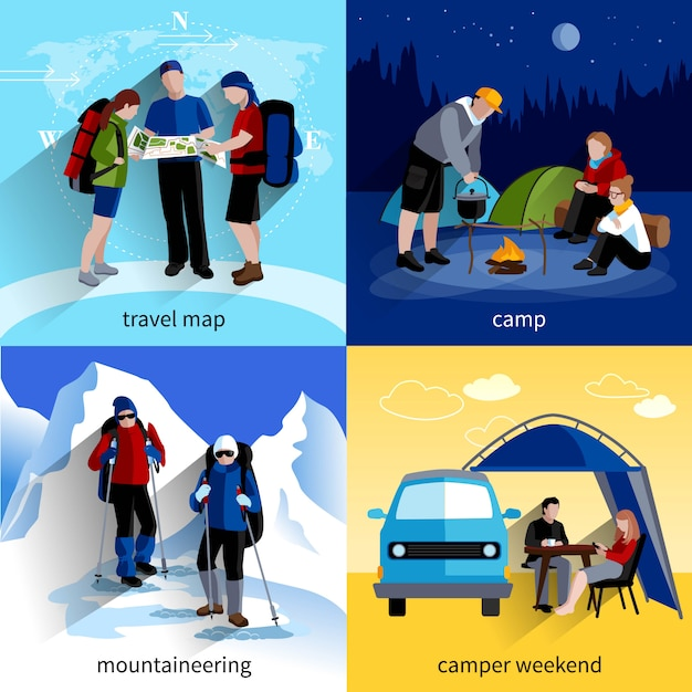 Camper People Icons Set Vecteur gratuit