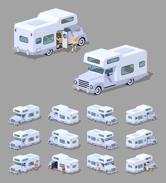 Campeur de camping isométrique rv 3d blanc Vecteur Premium