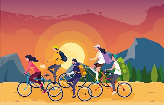Les campeurs dans la belle scène de paysage avec des vélos Vecteur Premium