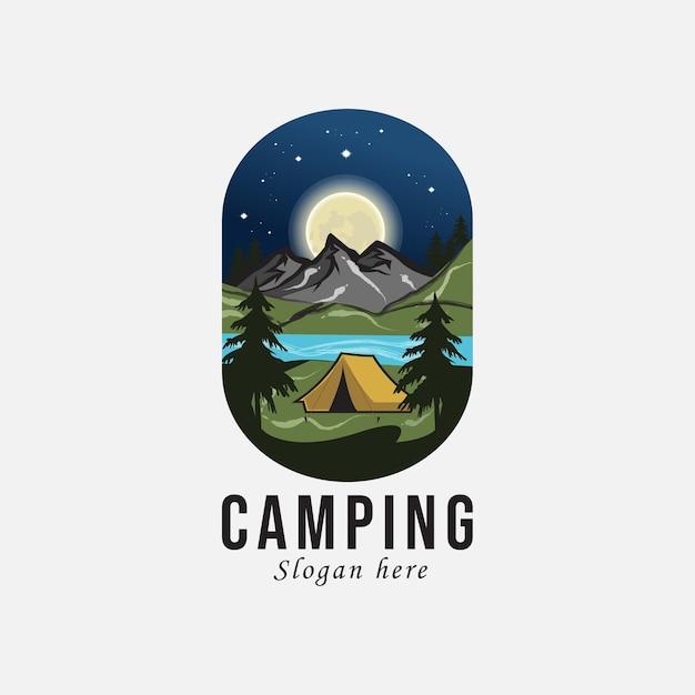 Camping Et Aventure En Plein Air Logo Rétro. Vecteur Premium