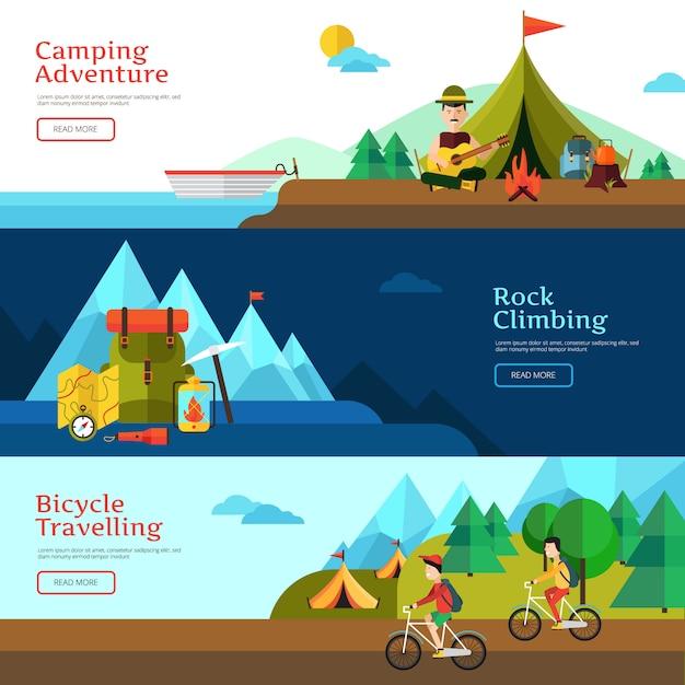 Camping bannière horizontale plate définie pour la conception web et illustration vectorielle de présentation Vecteur gratuit