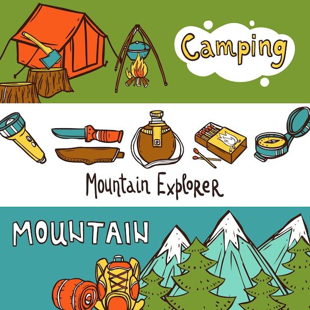 Camping bannières horizontales Vecteur gratuit