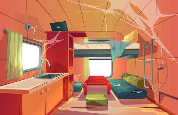 Camping-car Abandonné Voiture Intérieur Camping-car Vecteur gratuit