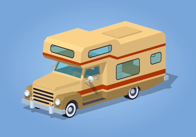 Camping-car brun faible poly Vecteur Premium