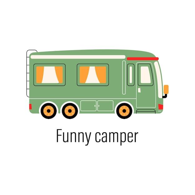 Camping-car Coloré. Voiture De Divertissement. Maison Mobile Pour Les Loisirs Hors De La Ville Et Les Loisirs De Plein Air. Vecteur Premium