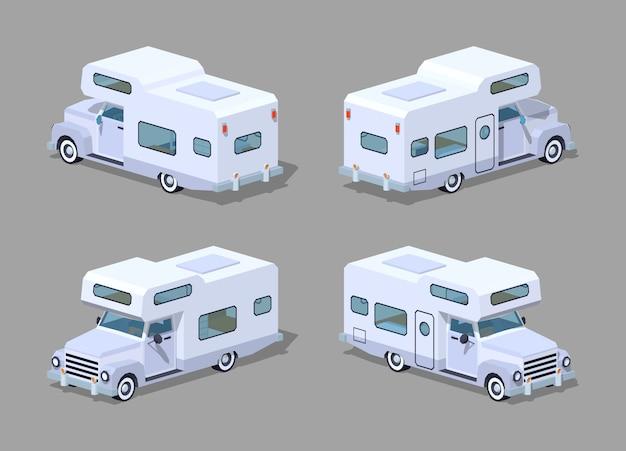 Camping-car isométrique 3d blanc Vecteur Premium