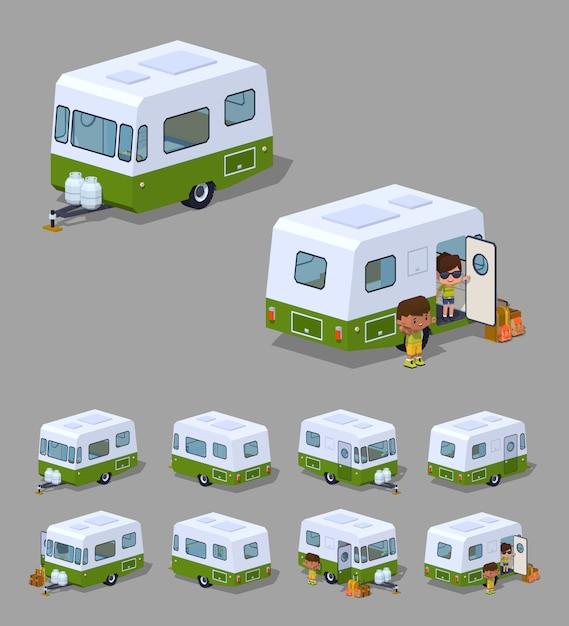 Camping car isométrique 3d rétro Vecteur Premium