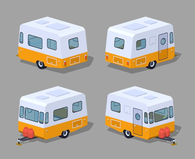 Camping-car isométrique 3d rétro Vecteur Premium
