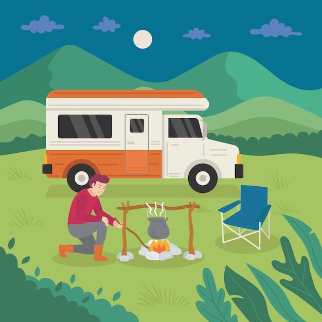 Camping Avec Une Caravane Et Un Homme Vecteur Premium