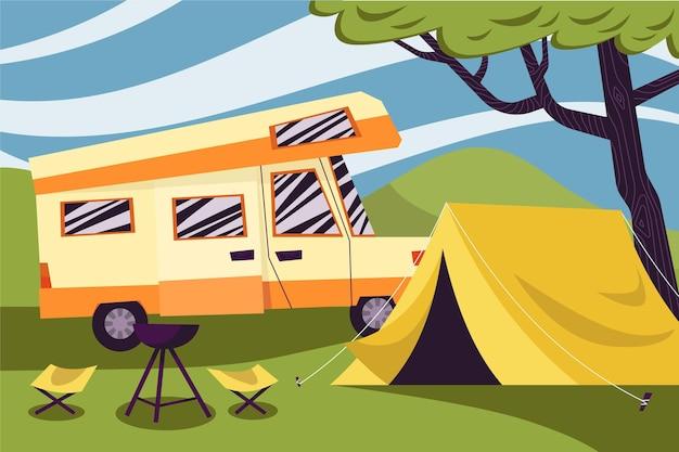Camping Avec Une Caravane Et Une Illustration De Tente Vecteur gratuit