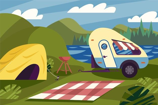 Camping Avec Caravane Et Tente Vecteur gratuit