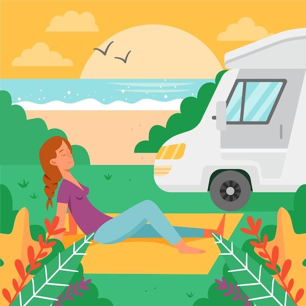 Camping Avec Une Caravane Vecteur gratuit