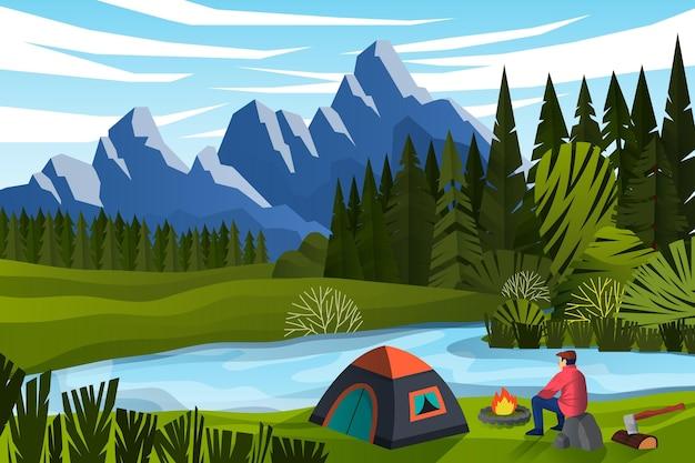 Camping Avec Une Caravane Vecteur Premium