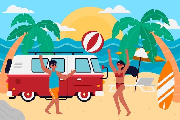 Camping Avec Un Concept De Caravane Vecteur gratuit