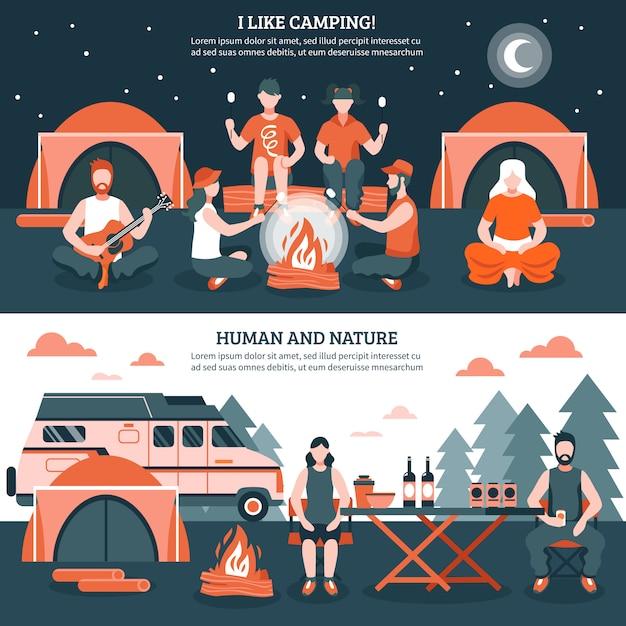 Camping dans les bannières sauvages Vecteur gratuit