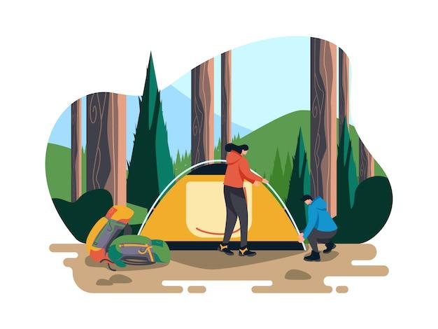 Camping dans l'illustration de la forêt Vecteur Premium