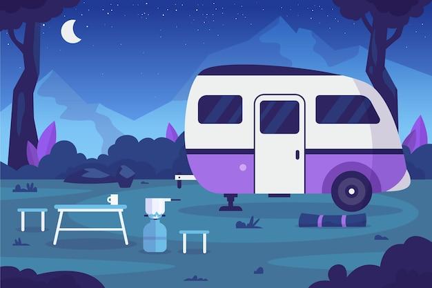 Camping Design Plat Avec Une Caravane La Nuit Vecteur gratuit