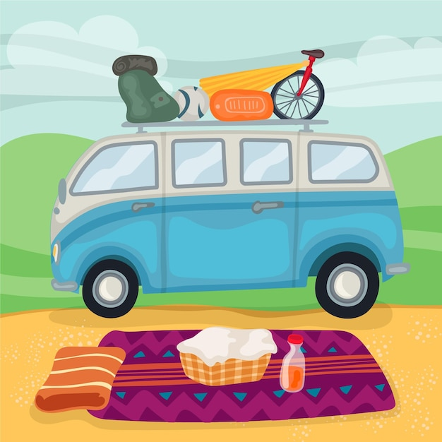 Camping Design Plat Avec Une Caravane Vecteur gratuit