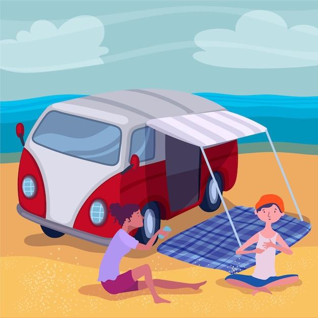 Camping Design Plat Avec Une Illustration De Caravane Avec Des Personnages Vecteur gratuit