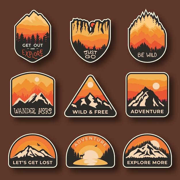 Camping emblèmes d'aventure en plein air Vecteur Premium
