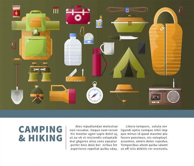 Camping d'été et éléments de randonnée avec modèle de texte Vecteur Premium