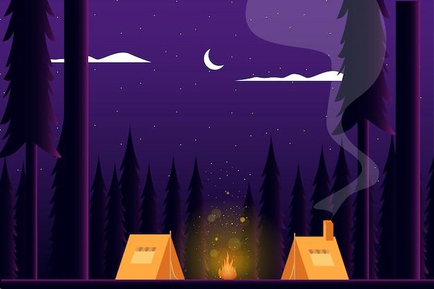 Camping d'été en forêt Vecteur Premium