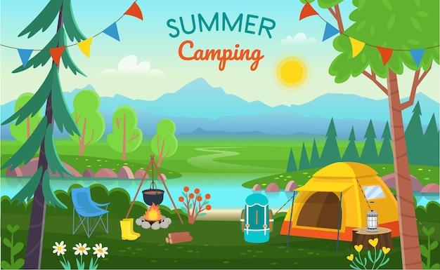 Camping D'été. Paysage Forestier Avec Des Arbres, Des Buissons, Des Fleurs, Une Route, Un Lac, Des Tentes, Un Feu De Joie, Un Sac à Dos. Camping Concept Et Voyages D'été. Vecteur Premium