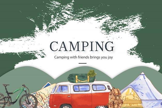Camping fond avec illustrations de fourgon, vélo, carte et chapeau de seau. Vecteur gratuit