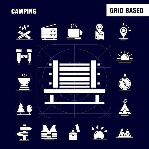 Camping Icône De Glyphe Solide Vecteur gratuit