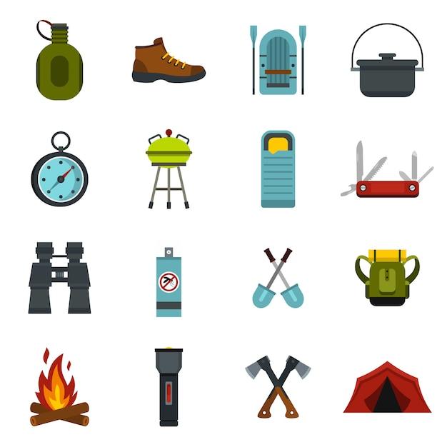Camping icônes définies. Vecteur Premium