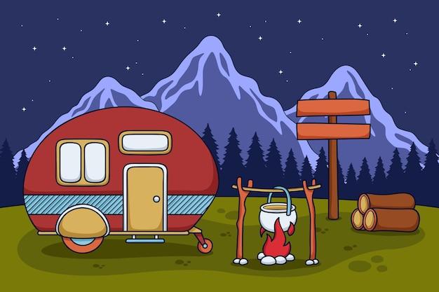 Camping Avec Une Illustration De Caravane Avec Cheminée Vecteur gratuit