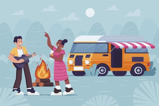 Camping Avec Une Illustration De Caravane Avec Couple Et Feu De Camp Vecteur gratuit