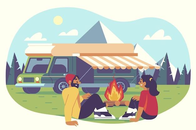 Camping Avec Une Illustration De Caravane Avec Couple Vecteur gratuit