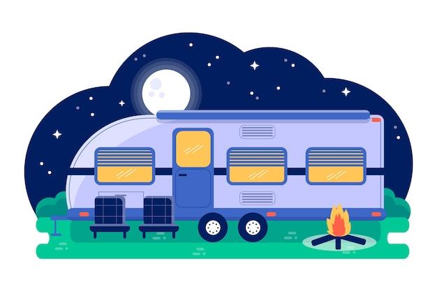 Camping Avec Une Illustration De Caravane Avec Feu De Joie Vecteur gratuit