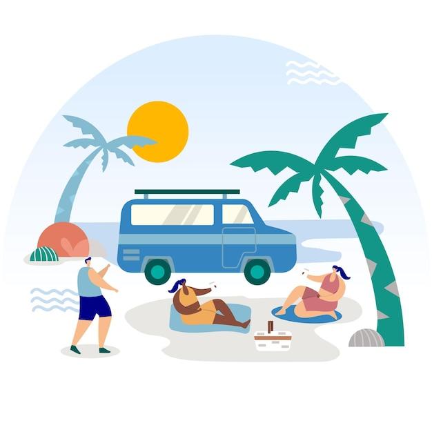 Camping Avec Une Illustration De Caravane Avec Palmiers Vecteur Premium