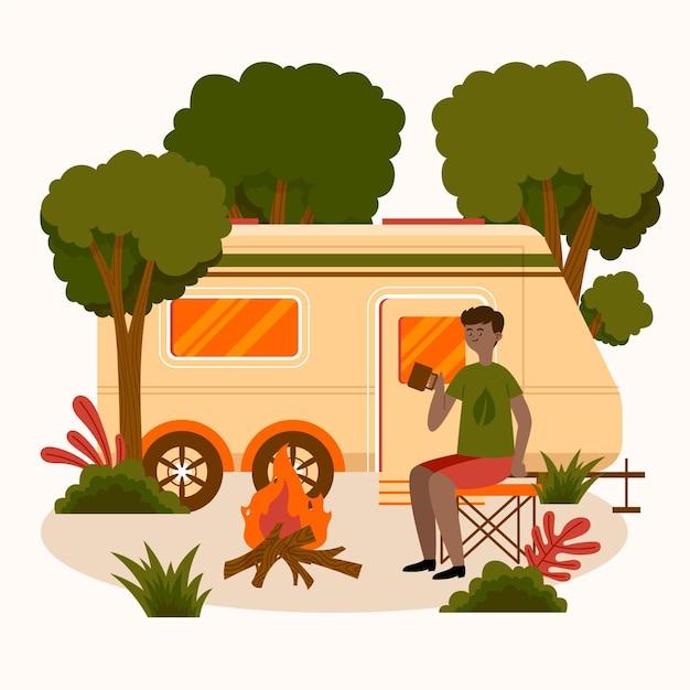Camping Avec Une Illustration De Caravane Vecteur gratuit