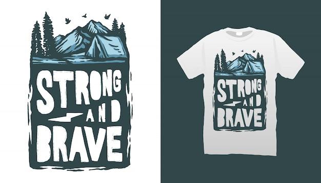 Camping Illustration Tshirt Design Vecteur Premium